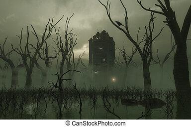 moeras, toren, rondgespookte