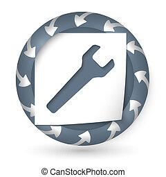 moersleutel, abstract, vector, pijl, pictogram