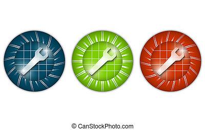 moersleutel, set, drie, gekleurde, iconen