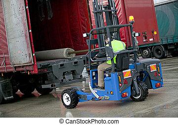 Moffett Forklift - Moffett Truck mounted forklift loading a...