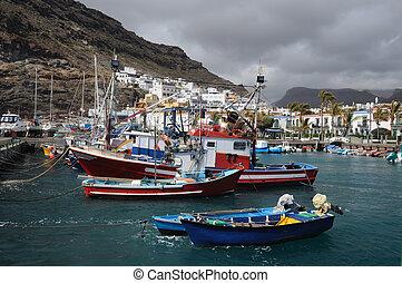 mogan, de, canario, pesca, magnífico, barcos, puerto, españa