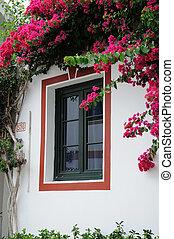 mogan, de, canario, ventana, magnífico, puerto, españa