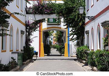 mogan, isla, de, canario, calle, magnífico, puerto, españa