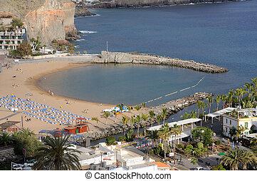 mogan, isla, de, canario, magnífico, puerto, playa, españa