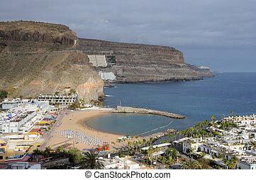 mogan, isla, de, canario, magnífico, puerto, españa