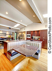 mogano, moderno, lusso, furniture., cucina