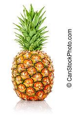 mogen, ananas, frukt, med, grönt lämnar
