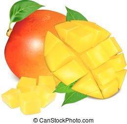 mogen, frisk, mango, med, andelar, och, leaves.