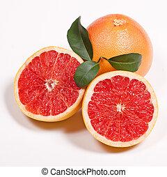 mogen, grapefrukt, med, grön leaf
