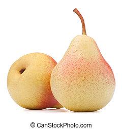 mogen, päron, frukt, isolerat, vita, bakgrund, utklippsfigur