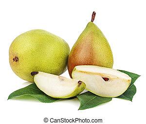 mogen, päron, med, snitt, och, grönt lämnar, isolerat, vita,...