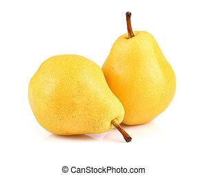 mogen, päron, på, a, vit fond