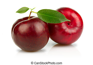 mogen, plommon, frukter, med, grönt lämnar, isolerat, vita