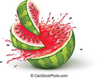 mogen, saftig, juice, vattenmelon, stänk, skärningarna, ...