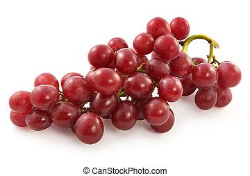 mogen, saftig, röda druvor, med, stort, bär