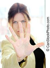 moget kvinna, gesturing, stopp