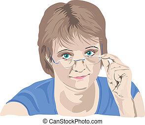 moget kvinna, tittande, henne, glasögon, fingrar, på, den,...