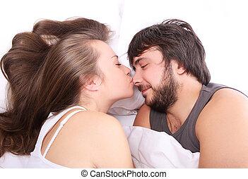 moglie, è, baciare, lei, marito, a, naso