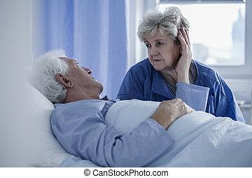 moglie, sostenere, marito, ospedale