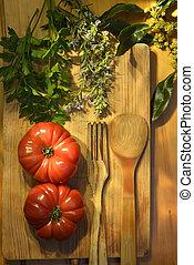 mogna tomater, persilja, lagerblad, och, rosmarin, årgång