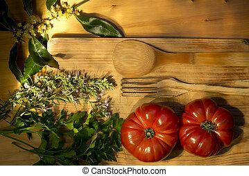 mogna tomater, persilja, lagerblad, och, rosmarin