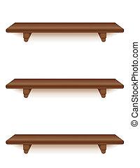 mogno, madeira, prateleiras