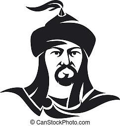 Mogolian man character isolated on white background