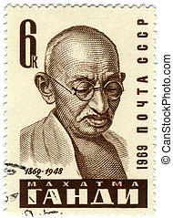 Mohandas Gandhi postmark - Mohandas Karamchand Gandhi. Major...
