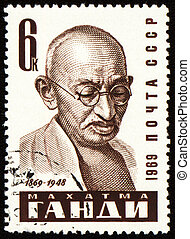 Mohandas Karamchand Gandhi portrait on postage stamp -...