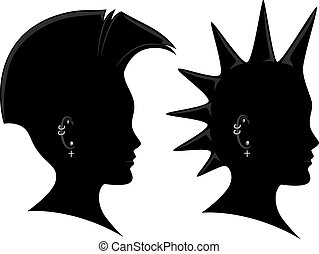 Mohawk - Side View Illustration of the Silhouette of a Man...
