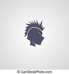 mohawk, guy, logotype