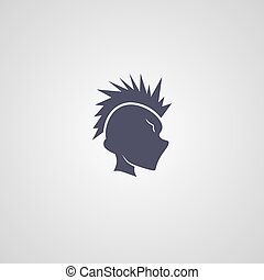 mohawk guy logotype theme vector art illustration