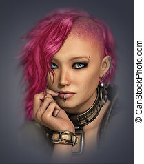 Mohawk Lady, 3d CG - 3D computer graphics of a portrait of a...