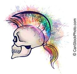 mohawk, styl, robiony, grunge, barwny, czaszka, włosy, plamy