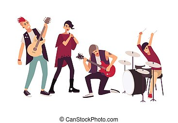 mohawks, tizenéves, egyetértés, fiatal, éneklés, csoport, stage., elszigetelt, háttér., zene, fehér, lakás, férfiak, banda, közben, karikatúra, nők, illustration., előadó, vacak, vektor, kő, játék