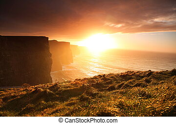 moher, clare, coucher soleil, irlande, falaises, co.