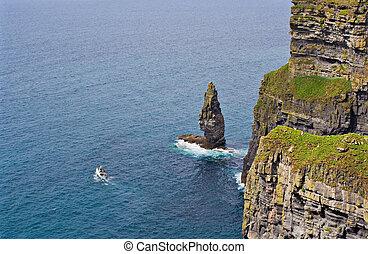 moher klippor, och, båt