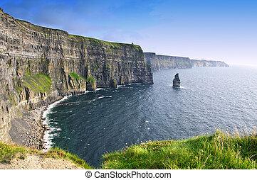 moher, sur, clare, comté, célèbre, coucher soleil, irlande, falaises