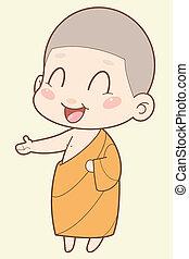 moine bouddhiste, dessin animé