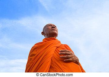 moine, dans, thaïlande