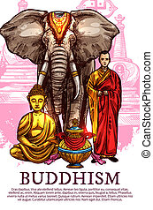 moine, vase, bouddha, éléphant