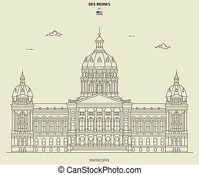 moines, 国会議事堂, des, ランドマーク, 州, アイコン, usa., アイオワ