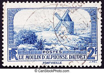 moinho de vento, 1936:, lettres, selo, moulin, de, -,...