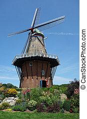 moinho de vento, autêntico, trabalhando
