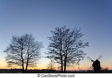 moinho de vento, crepúsculo, árvores, vista