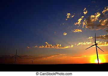 moinho de vento, em, pôr do sol, gerando, sustentável, poder