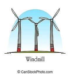 moinho de vento, energia, ou, areje turbina, rotação,...