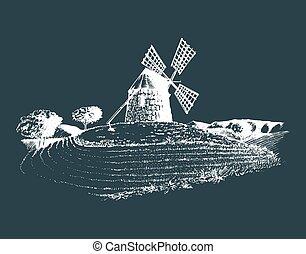 moinho de vento, esboço, fields., illustration., cartaz, campo, mediterrâneo, mão, rústico, vetorial, paisagem rural, card.