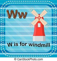 moinho de vento, flashcard, w, letra