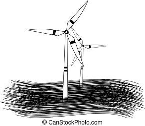 moinho de vento, gerando, energia, modernos, turbinas, verde, renovável